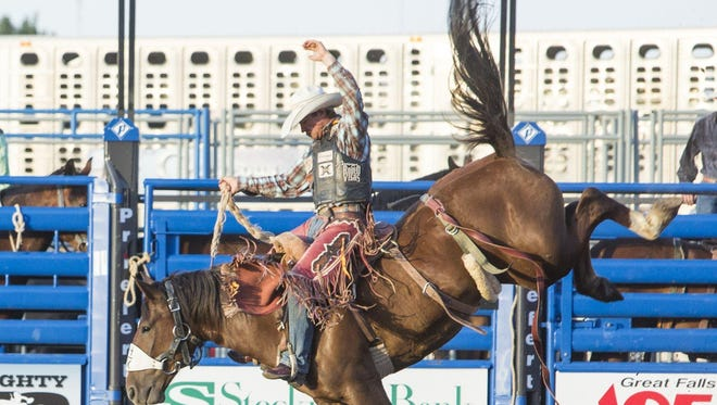 Cole Elshere, of Faith, South Dakota, rides Shandy in the saddle bronc riding event at last year's Big Sky Pro Rodeo Roundup.