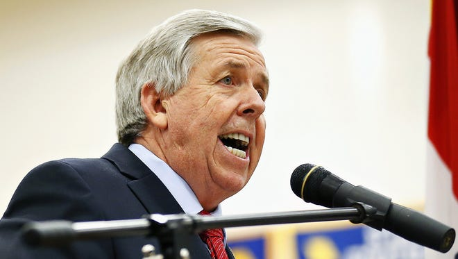 In this April 30, 2015 file photo, Missouri state Sen. Mike Parson speaks in Bolivar, Mo. Parson is one of three candidates running in the Aug. 2, 2016, Republican primary vying to become Missouri's next lieutenant governor. His Republican challengers are Kansas City lawyer Bev Randles and former teacher Arnie Dienoff. (Guillermo Hernandez Martinez/The Springfield News-Leader via AP, File)