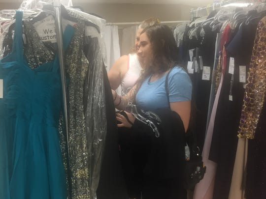 Mariah Sanchez, 17 and her mother Donna spent Saturday morning looking for the perfect prom dress in Coachella at the Bagdouma Park Community Center.