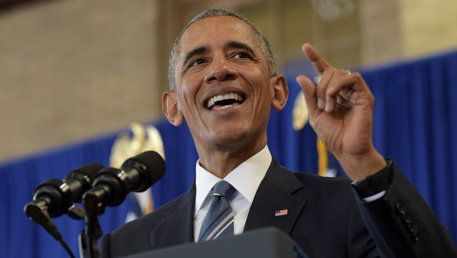 In this Monday, Oct. 17, 2016 file photo, President Barack Obama speaks during a visit to Benjamin Banneker Academic High School in Washington. Seeking a successful health-care sign-up period despite troubling new challenges to his namesake law, Obama wants to make sure people start enrolling on Nov. 1. Obama planned to make that pitch during an appearance Thursday, Oct. 20, 2016, at Miami Dade College in Miami, Fla.