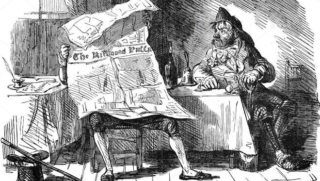Drawing of a man reading a newspaper.