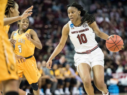 South Carolina guard Bianca Jackson (10) dribbles the ball during the second half of a game in the first-round of the NCAA women's college basketball tournament, Friday, March 16, 2018, in Columbia, S.C. South Carolina defeated North Carolina A&T 63-52. (AP Photo/Sean Rayford)