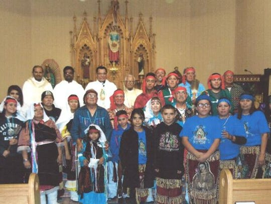 Rev. Rogelio Martinez with PMT pueblo members and matachines