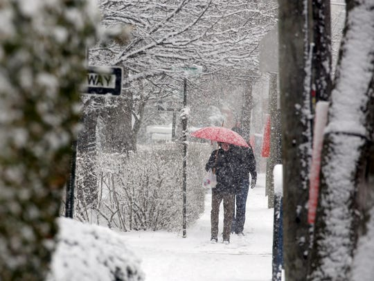 3:50 p.m. Heavy snow fell along Broadway in Nyack March