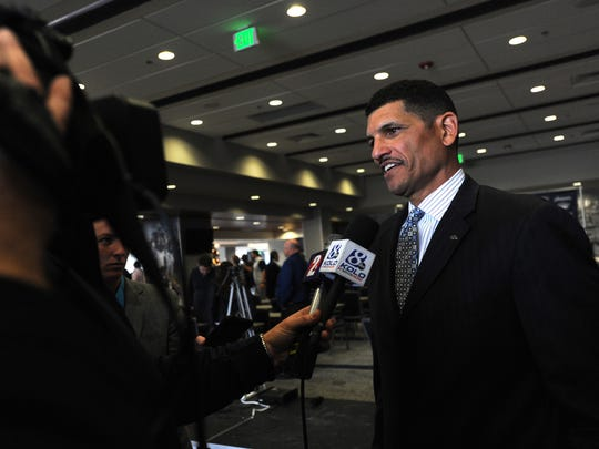 Jay Norvell talks to the media after his introductory press conference last December.