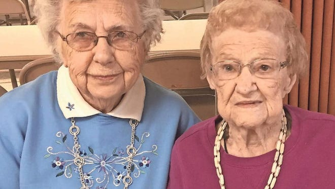 Ada Crow, left, and Adelaide Cochran, both Oxford, celebrate their 99th birthdays this year, as the town of Oxford prepares to celebrate its 150-year anniversary. Ada Crow will turn 99 in November, while Adelaide Cochran celebrated her milestone birthday on Jan. 3.