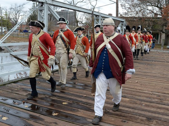 Re-enactors portraying British Grenadiers at New Bridge Landing during Nov. 2016 commemoration of 240th Anniversary of invasion of New Jersey
