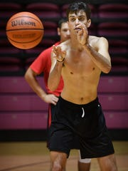 Jake Merrell of Turkey Valley High School at practice