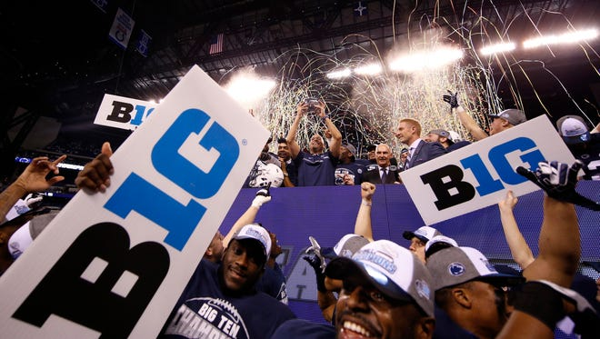 Coach James Franklin and Penn State celevrate their Big Ten title.