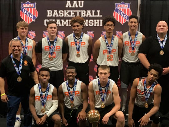 Members of the Rochester Area Players Stars (RAP) 17-under team, winner of the 2018 AAU National Championship Division II tournament.