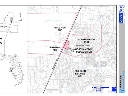 This shows an aerial illustration of the proposed rezoning area within the Northampton PUD.