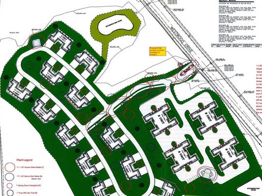 A map to show the landscape and lighting plan for a proposed apartment development at 1550 Westwood Dr. in Wausau.