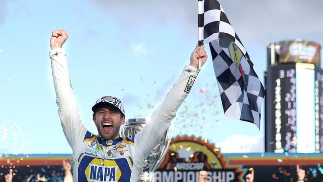 Chase Elliott, driver of the #9 NAPA Auto Parts Chevrolet, celebrates in victory lane after winning the NASCAR Cup Series Season Finale 500 and the 2020 NASCAR Cup Series Championship at Phoenix Raceway on Sunday, Nov. 8, 2020 in Avondale, Ariz.
