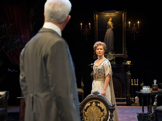 """Patrick Galligan as Sir Harry Sims and Kate Besworth as Lady Sims in """"The Twelve-Pound Look."""""""