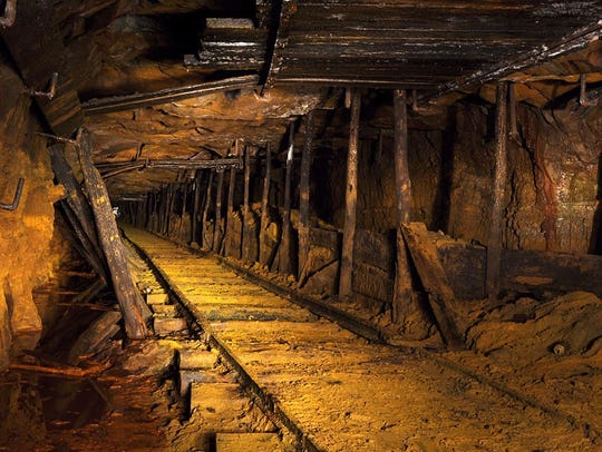 Coal Locomotive tracks in an abandoned mine in Pennsylvania.
