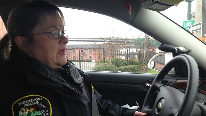 Cpl. Mary Garrett, a community liaison officer interacts with Shreveport's homeless population.