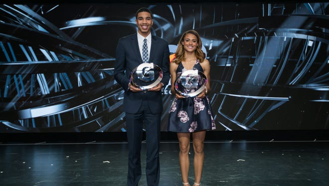 At the 2016 Gatorade Athlete of the Year awards ceremony, Jayson Tatum of Chaminade College Preparatory School (St. Louis, MO) and Sydney McLaughlin of Union Catholic High School (Scotch Plains, N.J.) were named the 2016 Gatorade High School Male and Female Athletes of the Year in Los Angeles on Tuesday, July 12, 2016.