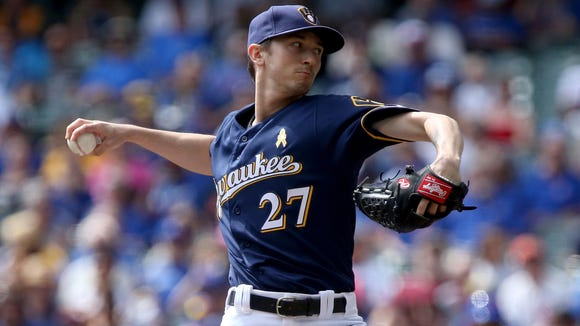 Brewers starter Zach Davies pitches in the first inning.