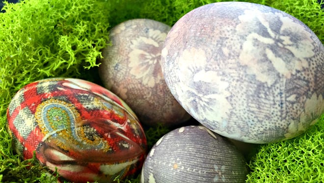 The big reveal: silk-dyed Easter eggs.
