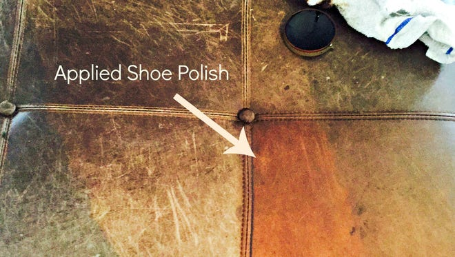 A before-and-after photo shows how using shoe polish can buff out scratches on leather furniture.