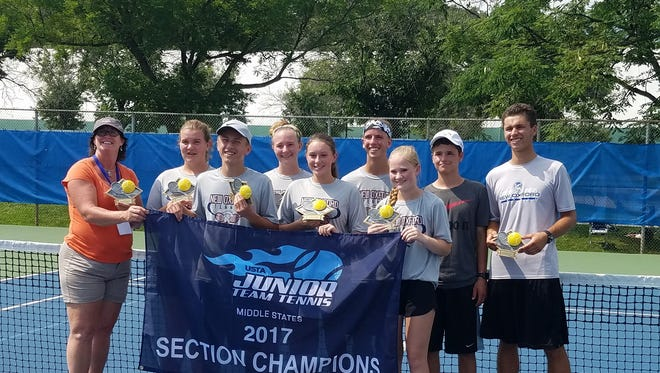 Ox Strong, a local tennis team from New Oxford, poses for a photo after winning a United States Tennis Association 18U Sectional Championship in Princeton, New Jersey earlier in August.