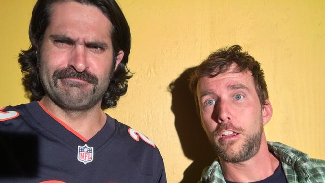 """Nick Greco, left, and Ryan Churchill wrote and star in """"The 60 Yard Line,"""" the Packers-themed romantic comedy filmed primarily in Green Bay and Ashwaubenon."""
