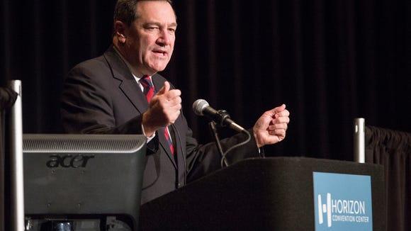 U.S. Senator Joe Donnelly speaking at the Indiana Economic Development Outlook.