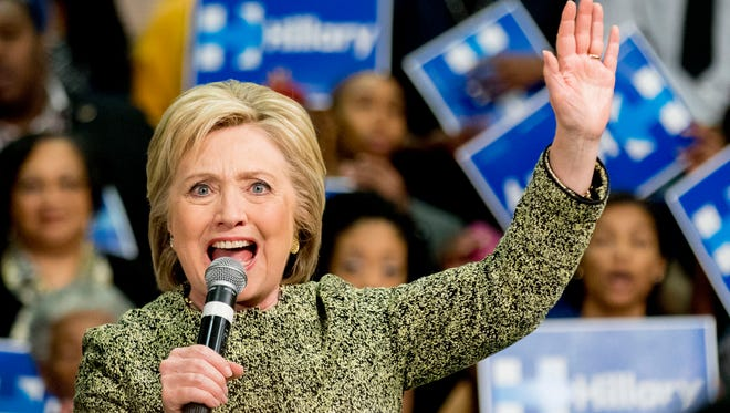 Democratic presidential candidate Hillary Clinton speaks at a rally to promote early voting ahead of Super Tuesday at the University of Arkansas at Pine Bluff Sunday, Feb. 28, in Pine Bluff.