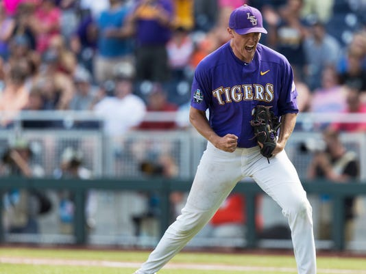LSU's Zack Hess reacts after the final out against Oregon State during anNCAA College World Series baseball game Saturday, June 24, 2017, in Omaha, Neb. (Brendan Sullivan/Omaha World-Herald via AP)