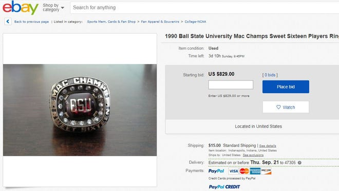 A ring from Ball State's Sweet 16 team in 1990 is up for sale on eBay