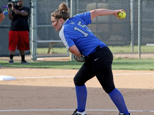 Windthorst's Laynie Brown pitches against Albany Thursday, May 10, 2018, in Game 1 of the Region I-2A quarterfinal series in Graham.