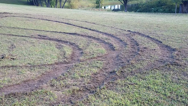 Police found this vandalism Wednesday near Martin's Lake in Gloucester City.