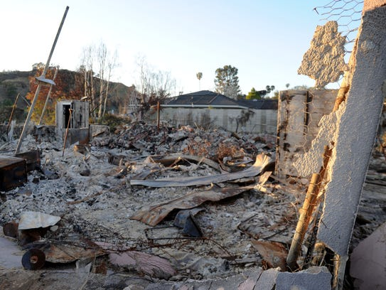 What remains of homes in the Thomas Fire burn area.