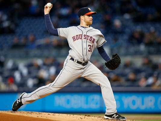 Houston Astros starting pitcher Collin McHugh delivers in the first inning of a baseball game against the New York Yankees in New York, Wednesday, April 6, 2016. (AP Photo/Kathy Willens)
