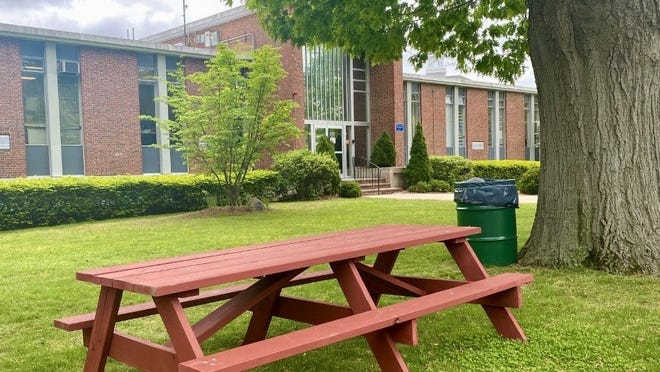 The town of Dedham provided picnic tables and trash barrels in some public spaces across town for additional places residents may enjoy their takeout at.