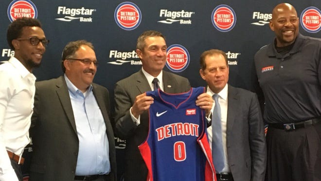 The Pistons introduce their new Nike uniform, complete with the new Flagstar Bank jersey patch, on July 26, 2017.