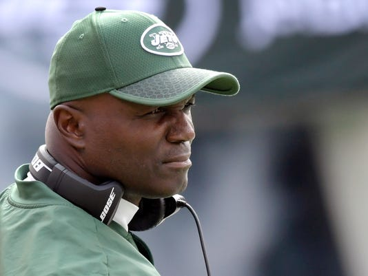FILE - In this Oct. 15, 2017, file photo, New York Jets coach Todd Bowles looks on before an NFL football game against the New England Patriots in East Rutherford, N.J. The Jets host the Atlanta Falcons on Sunday. (AP Photo/Bill Kostroun, File)