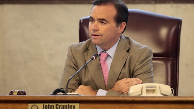 Cincinnati mayor John Cranley introduced city manager Harry Black during a special meeting of city council at Cincinnati City Hall in downtown Cincinnati on Wednesday, Aug. 24, 2016. Cranley, who recruited and hired Black, spoke on the city managers accomplishments in his year in office.