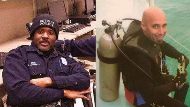 Detroit Police Officer Myron Jarrett (left), and Sgt. Kenneth Steil are to be awarded posthumous Purple Hearts at the 2016 Above and Beyond Awards Ceremony on Wednesday, Nov. 30, 2016 in Cobo Center.  The officers both died this year in the line of duty.