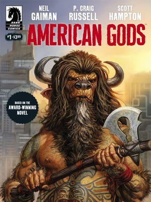 "The cover to the first issue of Dark Horse's ""American Gods"" adaptation is a buffalo-headed minotaur by Glenn Fabry."