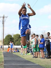 Reagan County High School's Jayslynn Reyes competes in the long jump at the Cotton Patch Relays in Wall on Thursday, March 29, 2018.