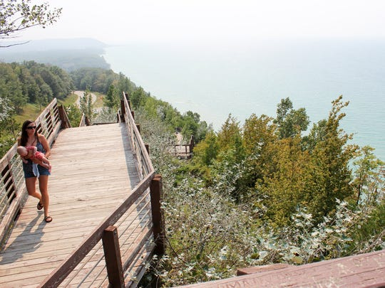 The Arcadia scenic turnout in Arcadia has stairs that give visitors an unrestricted view of the Lake Michigan and the coastline.