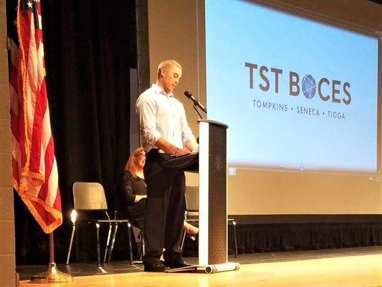 Logan Wannall was the keynote speaker at the TST BOCES