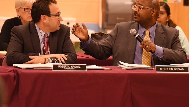Superintendent Robert Kravitz, left, and board President Stephen Brown at the Englewood Board of Education meeting Thursday.
