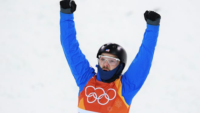 PYEONGCHANG-GUN, SOUTH KOREA - FEBRUARY 17:  Jonathon Lillis of the United States celebrates during the Freestyle Skiing Men's Aerials Qualification on day eight of the PyeongChang 2018 Winter Olympic Games at Phoenix Snow Park on February 17, 2018 in Pyeongchang-gun, South Korea.  (Photo by David Ramos/Getty Images)