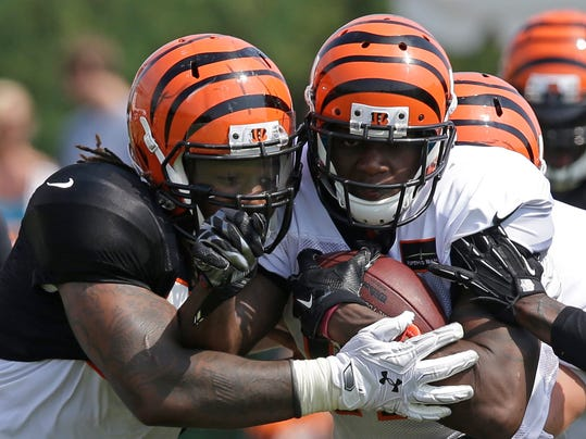 Cincinnati Bengals outside linebacker Vontaze Burfict, left, tackles wide receiver Mohamed Sanu during practice at the NFL football team's training camp, Saturday, July 26, 2014, in Cincinnati. (AP Photo/Al Behrman)