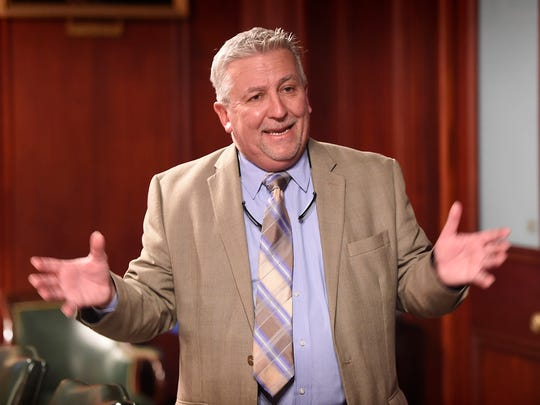Senator Mike Folmer, R-48, a three-term state senator, provides a tour of the Pennsylvania State Capitol on Oct. 19.