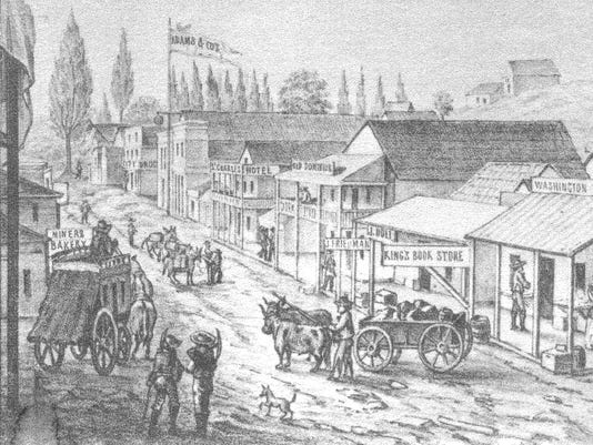 This sketch shows an active Main Street at Shasta in 1852. Courtesy of Shasta Historical Society SHS 1993.11.1
