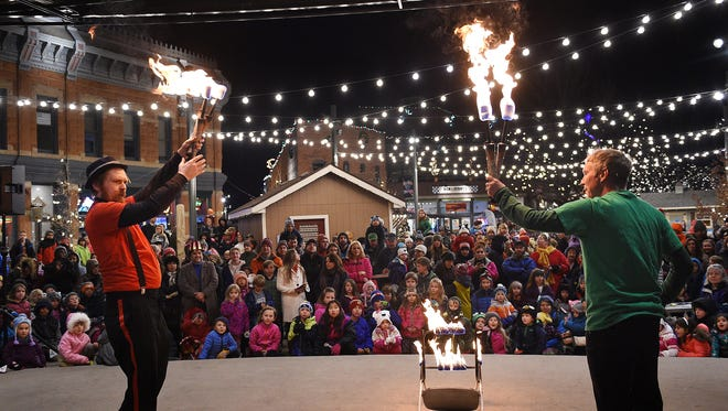 Danger Dan and Peter Irish perform at the Kids Countdown in Old Town Square on Saturday, December 31, 2016. First Night Fort Collins included international dance and theater, a magic show, comedy and music.