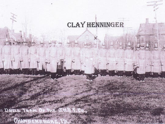 Clay Henninger in parade uniform with the Junior Hose